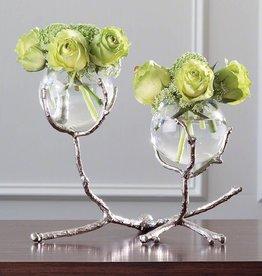 Global Views Twig 2 Vase Holder- Nickel