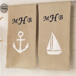 Mud Pie Anchor French Knot Sea Towel-