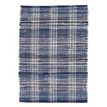 Dash & Albert Denim Plaid Woven Cotton Rug 5x8