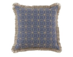 "Lacefield Designs Cari Denim Pillow w/ Natural Fringe 24"""