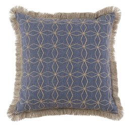 Lacefield Designs Cari Denim Pillow w/ Natural Fringe 24""