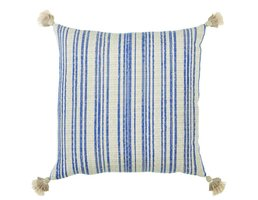"Lacefield Designs Phoenix Navy Pillow 24"" w/Neutral Tiered Tassels"