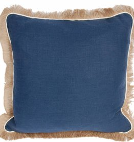 "Lacefield Designs Navy Linen Pillow 24"" w/Eggshell Pipe & Jute Fringe"