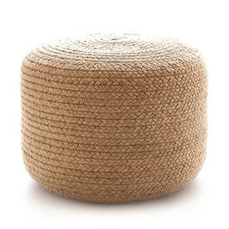 Dash & Albert Braided Natural Indoor/Outdoor Pouf 20""
