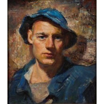 Vintage Portrait of a Young Man Painting by John W Hatch