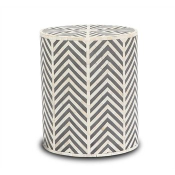 Interlude Kiara Side Table- Inlaid Mosaic Stone