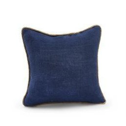 Mud Pie Navy Burlap Pillow