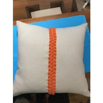 Ryan Studio Platinum Tangerine Linen Braided Pillow 22""