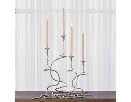 "S/2 Morning Glory Vine Candlestick Lg Nickel (30"" & 24"")"