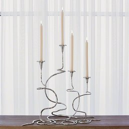 "S/2 Morning Glory Vine Candlestick Lg Nickel (30"" & 24"")"