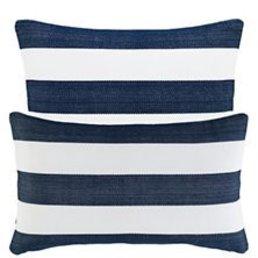 "Dash & Albert Catamaran Stripe Navy/White 21"" Indoor/Outdoor Pillow"