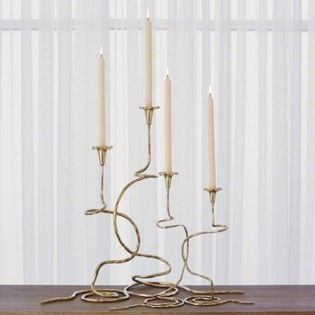 Global Views Morning Glory Vine Candlestick Brass- Large