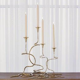 Global Views Morning Glory Vine Candlestick Brass- Medium