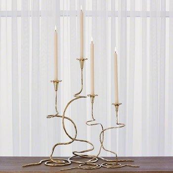 Global Views Morning Glory Vine Candlestick Brass- Medium