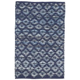 Dash & Albert Denim Rag Diamond Indigo 3x5 Woven Cotton Rug