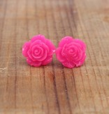 Small Hot Pink Rose Stud