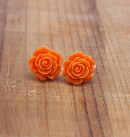 Small Orange Rose Stud