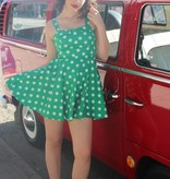 Marlena Dress Green/White Polka Dot
