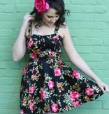 Marlena Black/Pink Roses