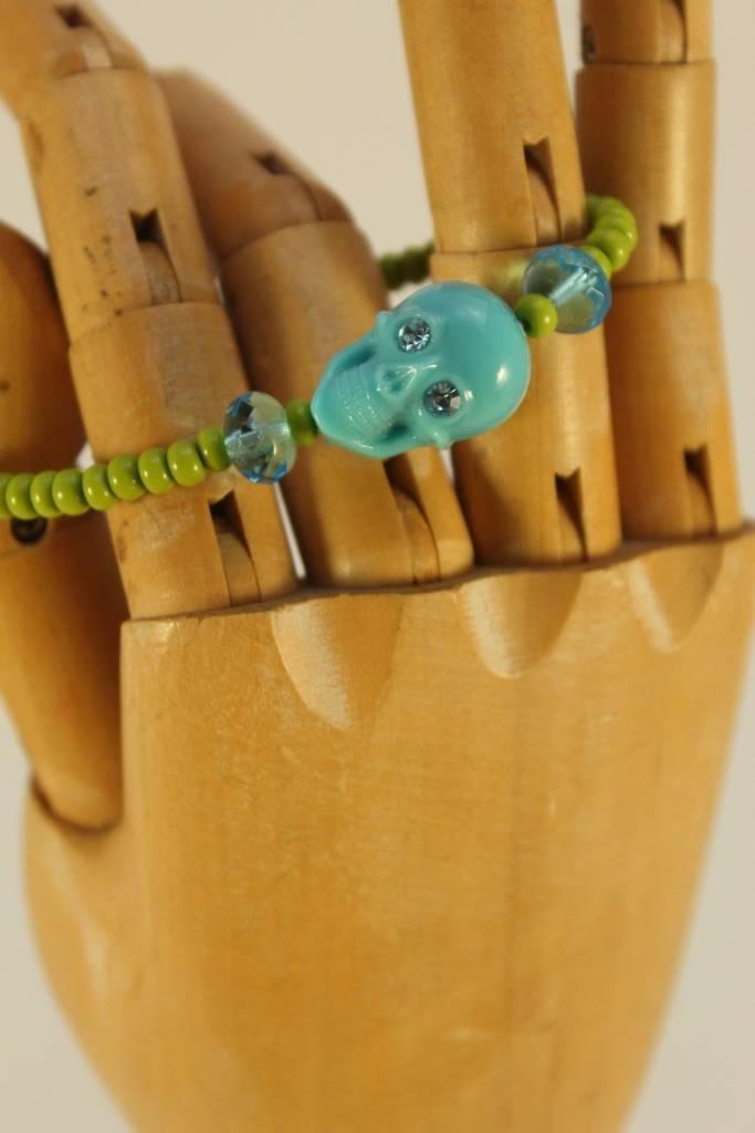 Tarina Tarantino Skull Bracelet Green/Turq