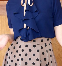 Charlie Ruffle Blouse Navy