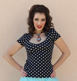 Sophia Top Black Polka Dot