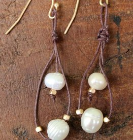 Leather Twine Boho Pearl Earrings