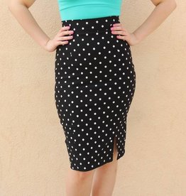 Polka Dot Pencil Skirt Black & White