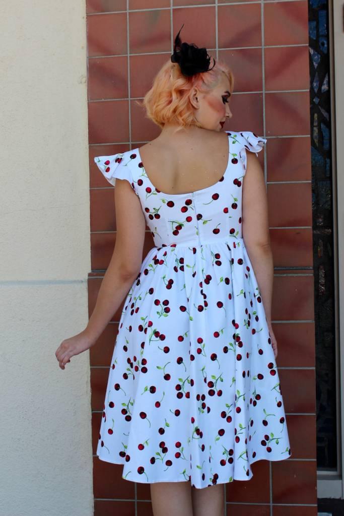 White Cherry Swing Dress