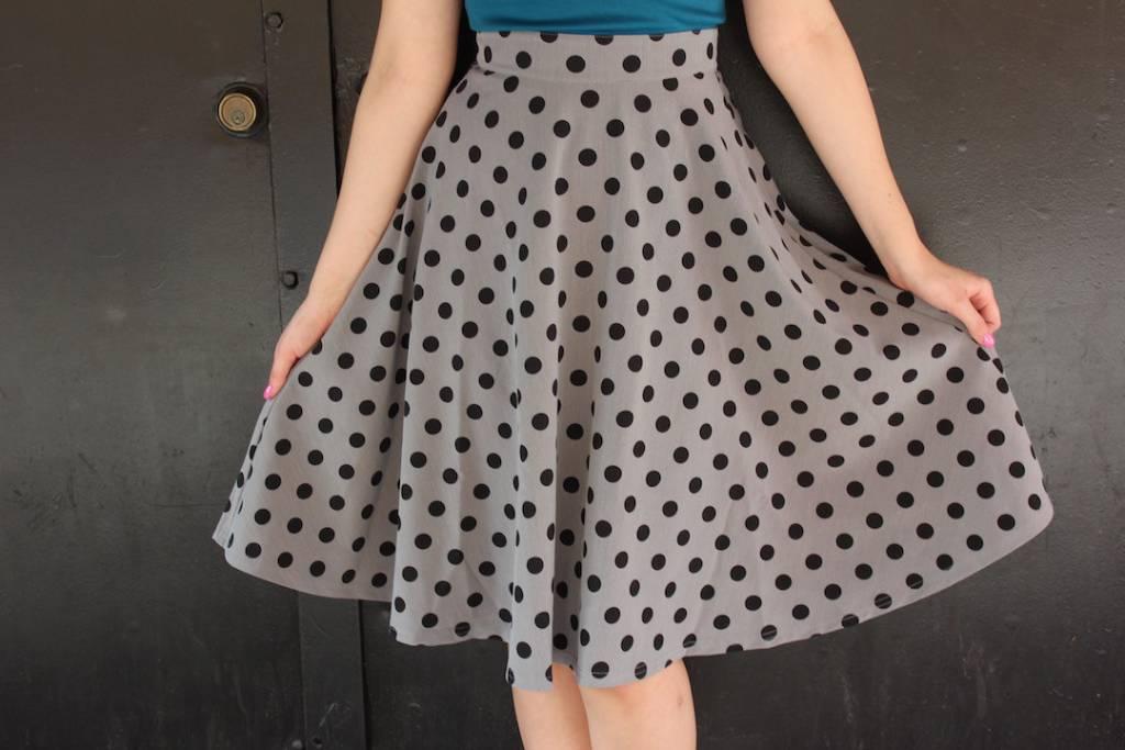 Thrills Skirt Grey & Black Polka Dot