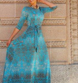 Maxine Goddess Dress Blue/Gold
