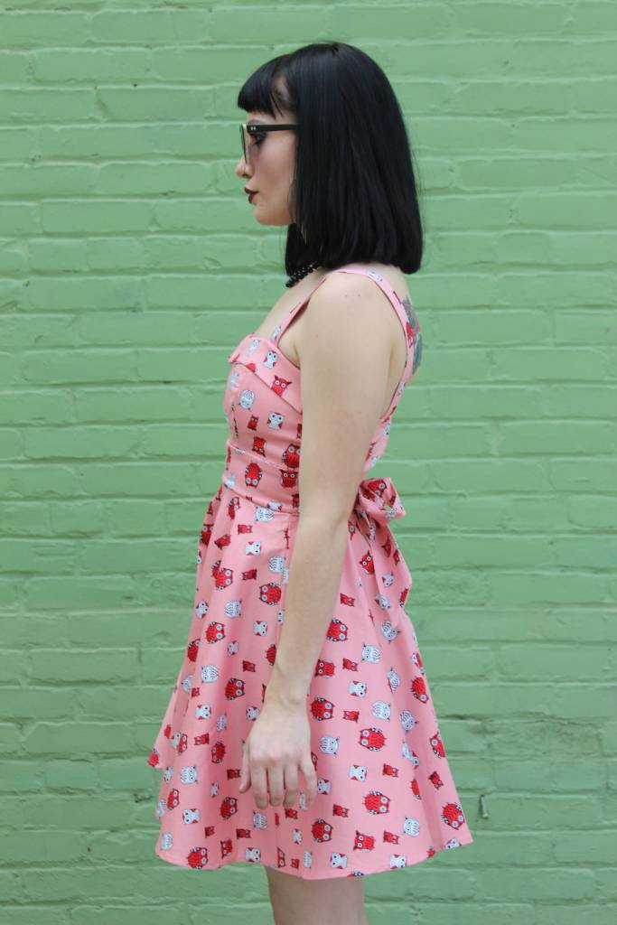 Marlena Dress Pink/Owls