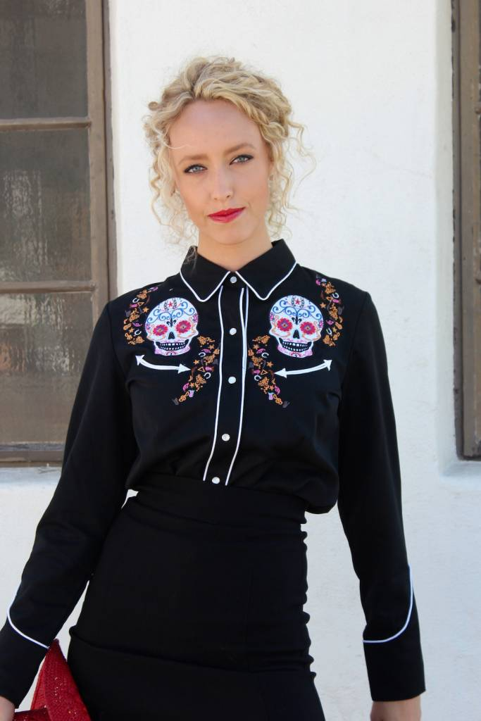 Embroidered Sugar Skull Blouse