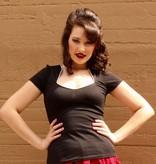 Piped Sophia Top Black