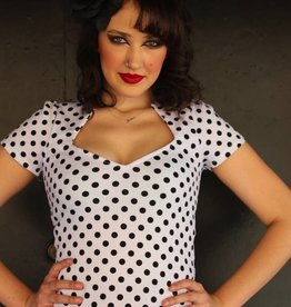 Sophia Top White Polka Dot
