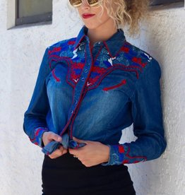 Denim Colorful Floral Blouse