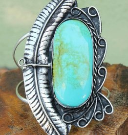 Feather Turquoise Cuff