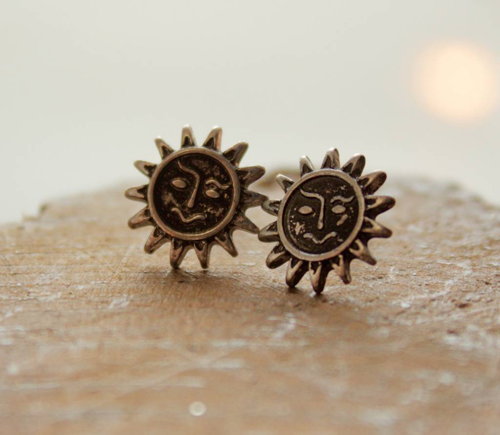 Boho Sun Earrings Silver