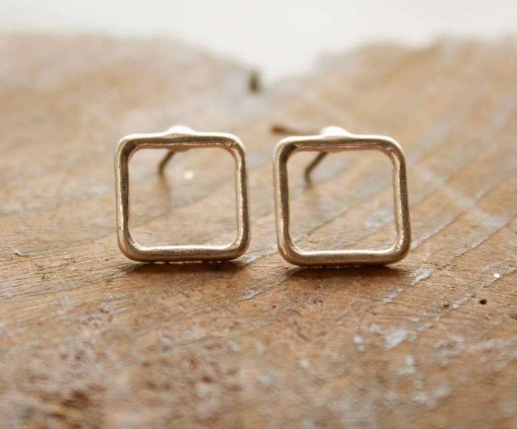 Open Square Stud Silver