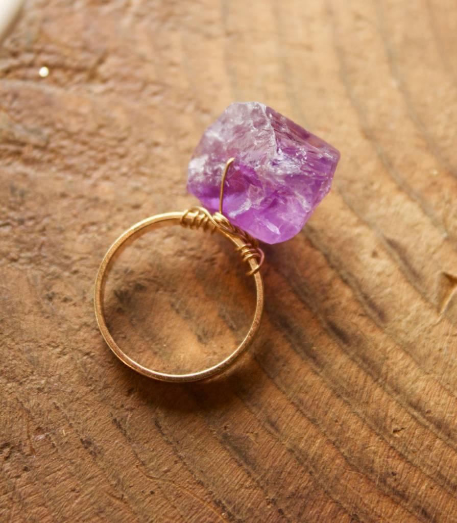 Amethyst Rock On Ring