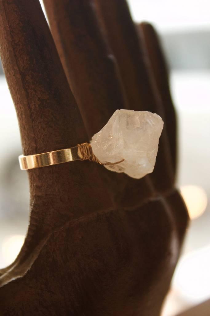 Crystal Quartz Rock On Ring