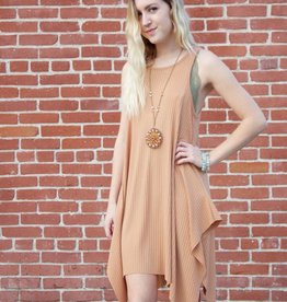 Ribbed Shark Bite Dress Apricot
