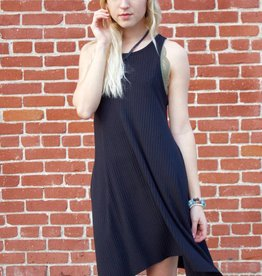 Ribbed Shark Bite Dress Black