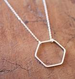 Open Hexagon Silver Necklace