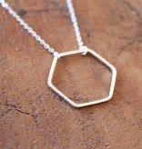 Open Hexagon Silver Necklace