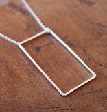 Open Rectangle Necklace Silver