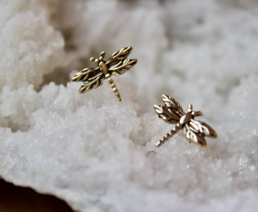 Dragonfly Studs Gold