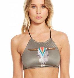 Chaser Aztec Cowskull Bikini Top