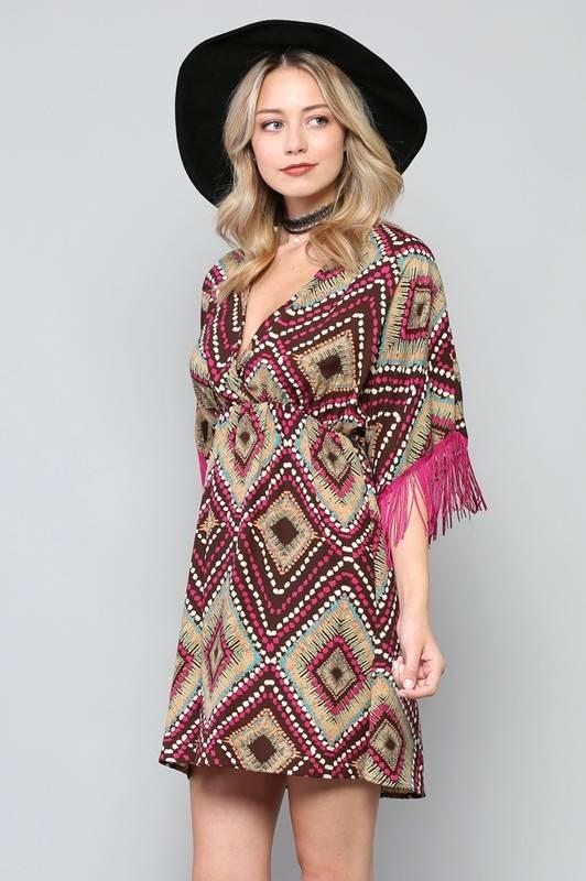 By Together Fringe Sleeve Dress