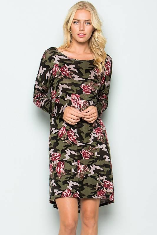 Sweet Pea Camo Floral Dress